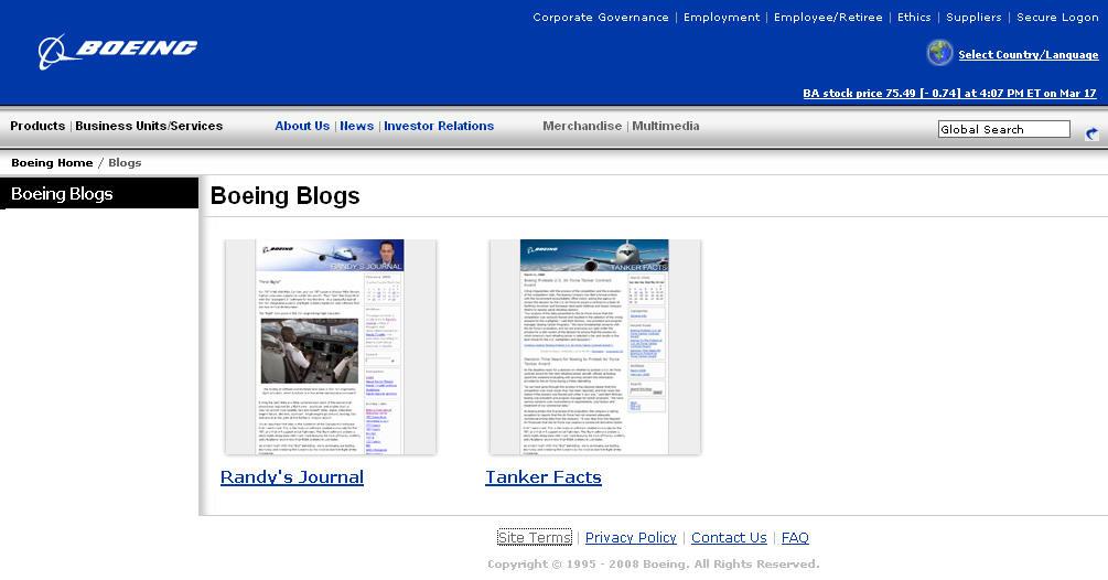Корпоративные блоги Боинга (Boeing)